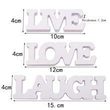 Paquete de 3 unidades, letrero recortado de madera blanca, vive, ríe, ama, casa, regalo para amigos y familiares