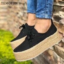 TEMOFON women canvas shoes platform women casual sh