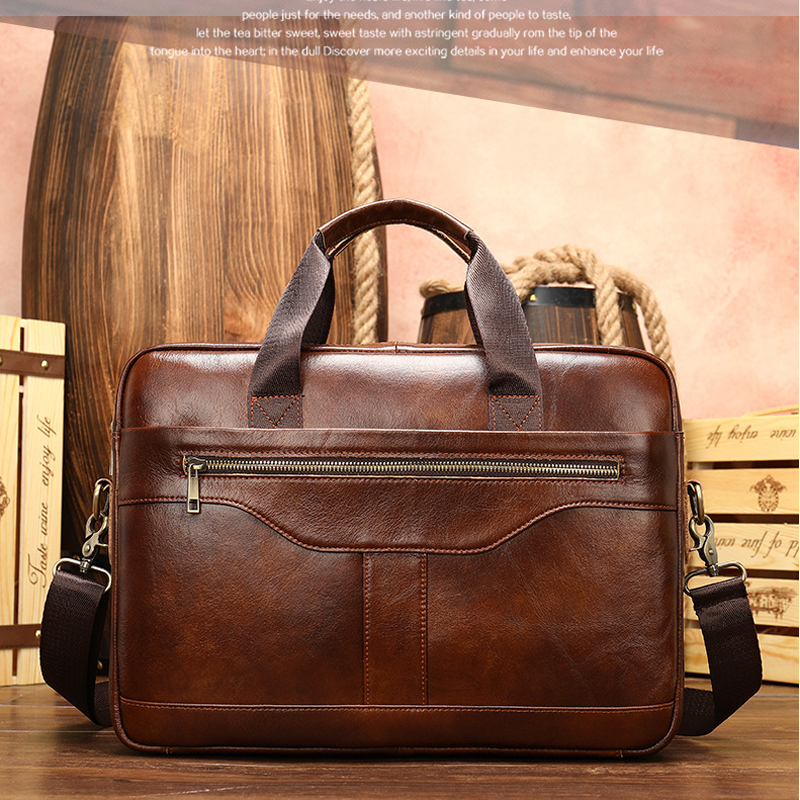 MAHEU High Quality Leather Briefcases With Shoulder Strap Luxury Designer Messenger Bag Crossbody Business Handbag For 15