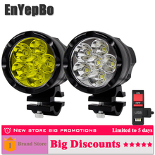 2PCS Universal 6 Chips Headlight LED Motorcycle Motorbike 8000 LM Moto Spotlight Waterproof Fog Spot Motos Bulb Super bright