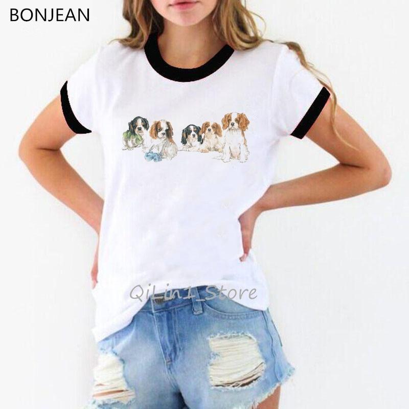 Harajuku kawaii CavalierKingCharlesSpanielDogprinted футболка женские друзья футболка для любителей собак femme белая футболка