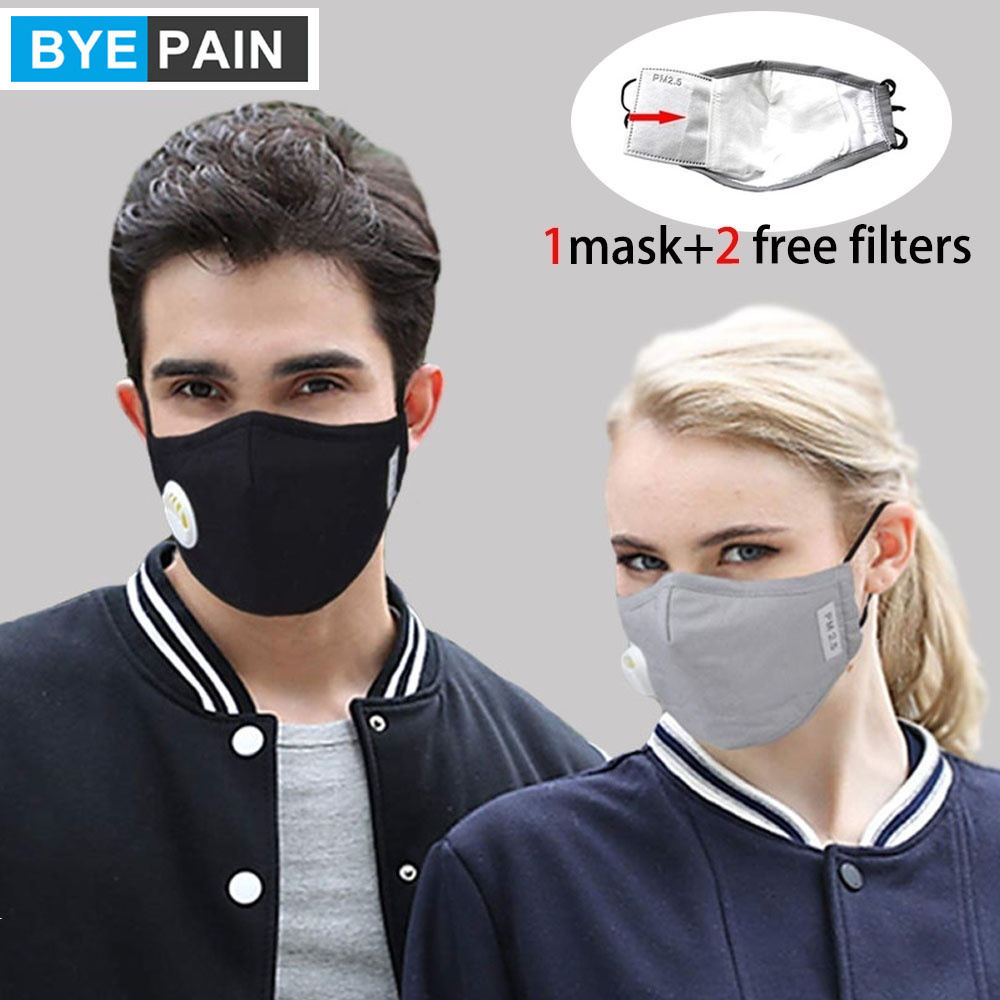1Pcs Fashion Unisex Cotton Breath Valve Mouth Mask Anti-flu Anti Pollution Mask Filter Respirator Mouth-muffle