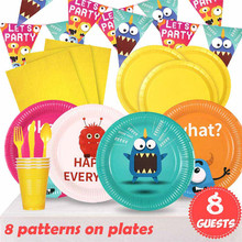 Cake Topper Plates Party-Supplies Birthday-Party-Decorations Theme Monster Disposable Tableware