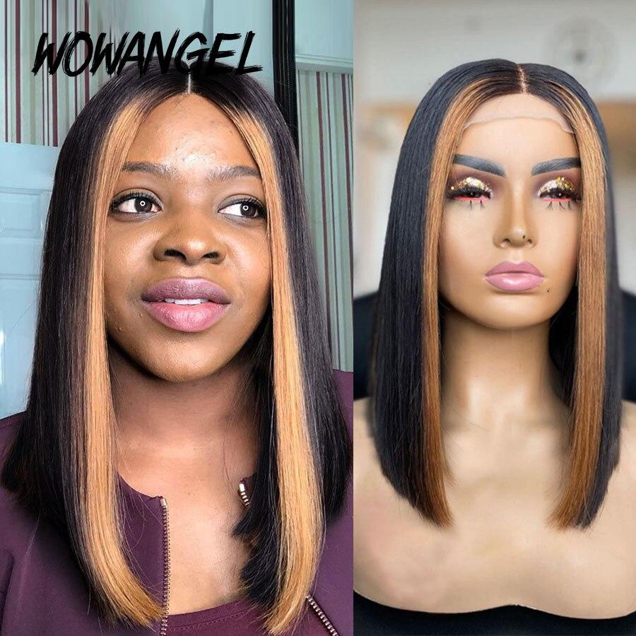 WOWANGEL13X6 Straight Lace Front Human Hair Wigs Brazilian Remy Highlight Blonde Ombre Short Bob Bleached Knots For Black Women