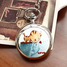 Fashion Style Men and Women Pocket Watch Quartz Stainless Steel Cat Love Fish Ceramic Rattan