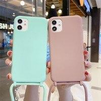 Custodia per telefono con collana in silicone liquido per iPhone 12 Pro 11 Pro XS MAX X XR 6 7 8 Plus SE 2020 cordino con cordino