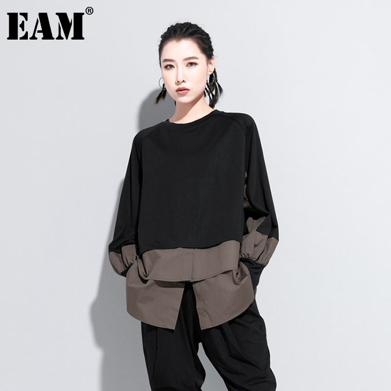 [EAM] Women Army Green Irregular Split Joint Big Size T-shirt New Round Neck Long Sleeve  Fashion Spring Autumn 2020 1DA608 1