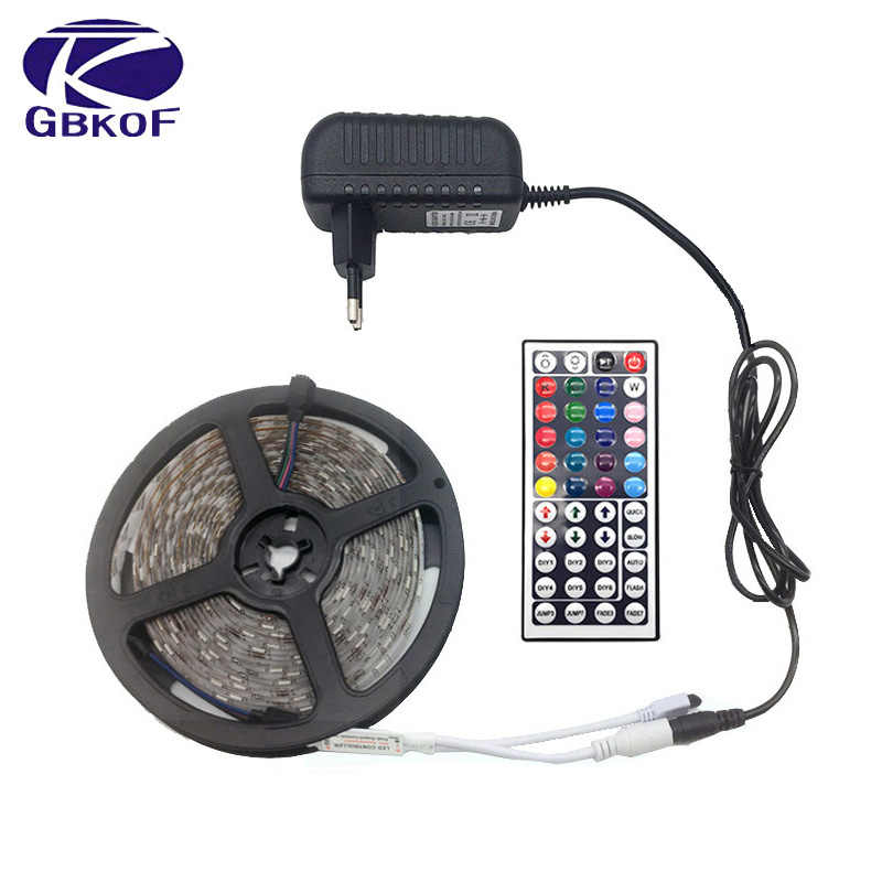 Gbkof SMD RGB LED Strip Light 5050 2835 10M 5M Lampu LED RGB LED Pita Dioda Pita Fleksibel controller DC 12V Adaptor Set
