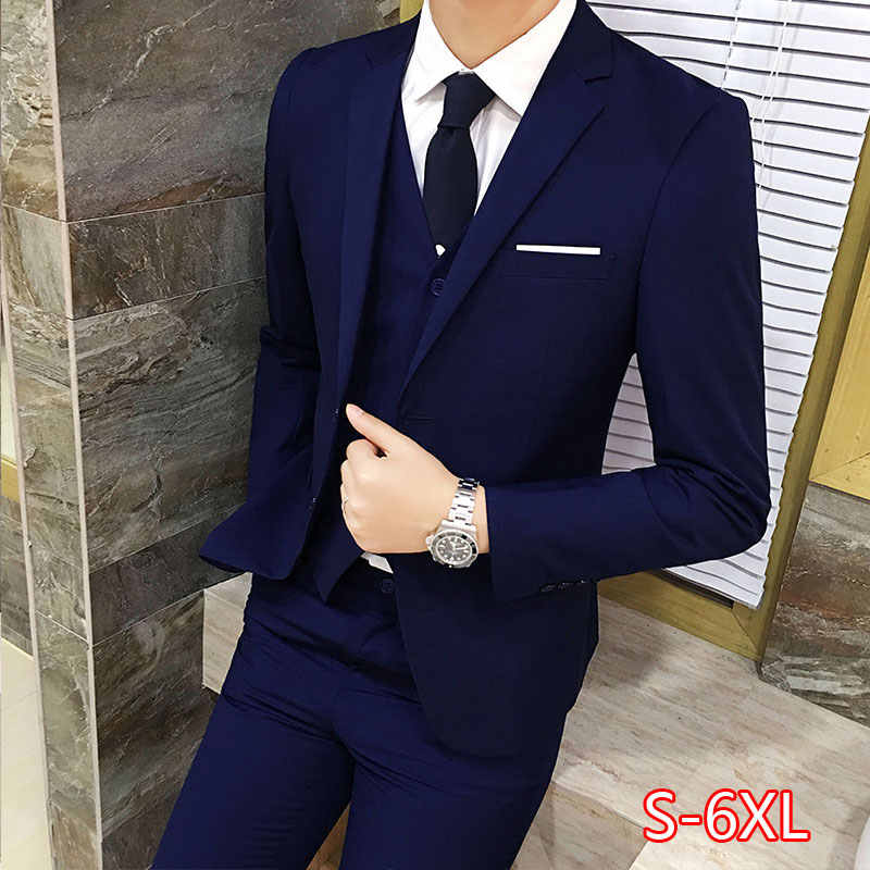 3 Stks/set Luxe Plus Size Mannen Pak Set Formele Blazer + Vest + Broek Past Sets Oversized Voor Mannen bruiloft Kantoor Pak Set