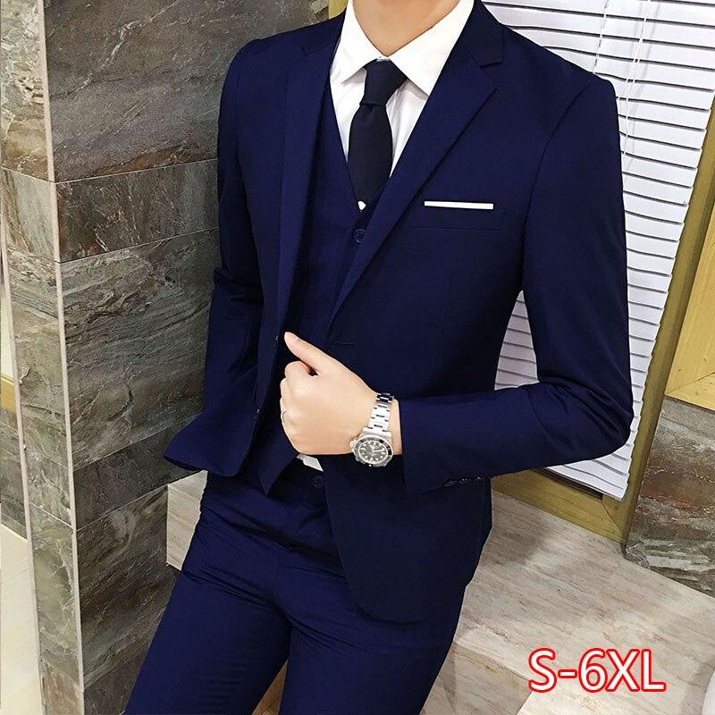 3 шт./компл., роскошный мужской костюм размера плюс, деловой блейзер + жилет + штаны, костюмы, комплекты, большие размеры, для мужчин, Свадебный деловой костюм