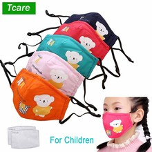 1Pcs דוב פנים פה מסכת לשימוש חוזר לנשימה כותנה מגן ילדי ילד קריקטורה חמוד PM2.5 נגד אבק פה פנים מסכה