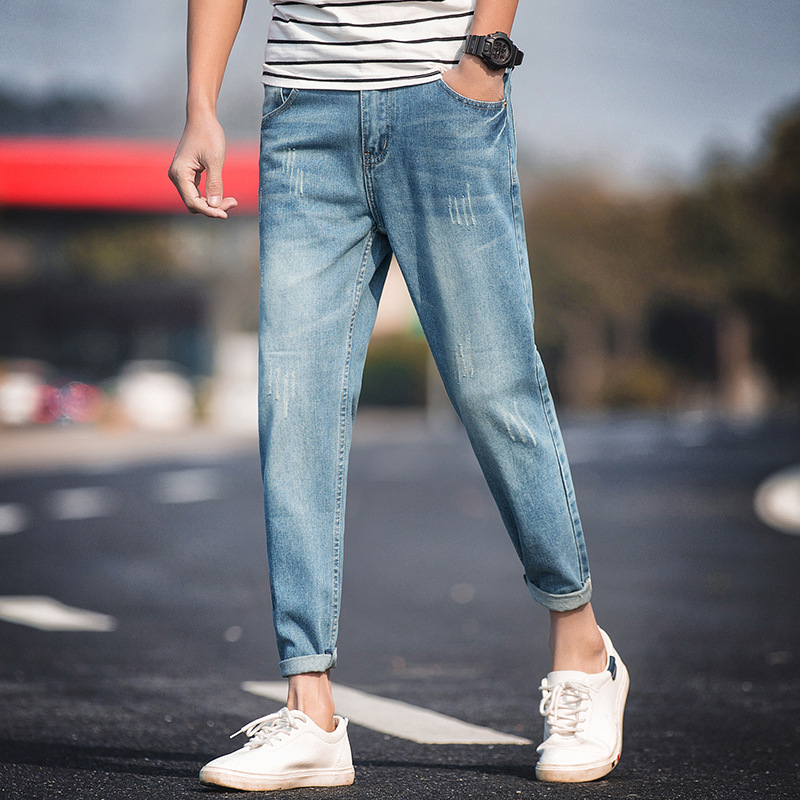 New Spring And Autumn Long Jeans Youth Korean Version Of The Trend Of Wild Light Distressed Men's Nine Jeans Pencil Pants K004