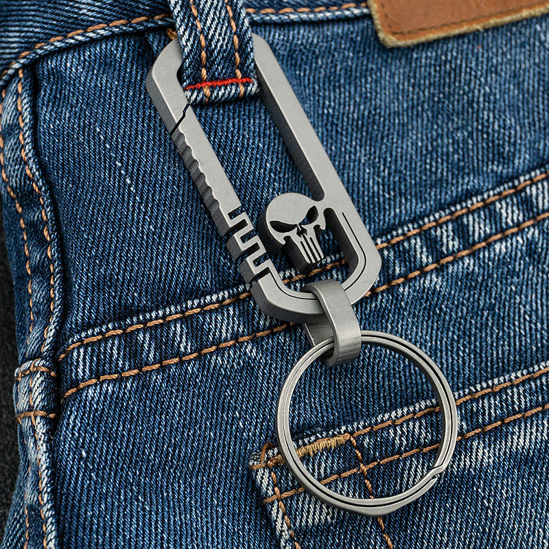 Titanium Alloy Outdoor EDC Skull Buckle Carabiner Keychain Hook Multi-functional Traveller Key Ring Clip