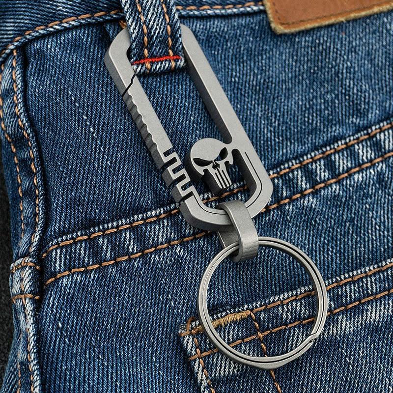Titanium Alloy Outdoor EDC Skull Buckle Carabiner Keychain Hook Multi-functional Traveller Key Ring Clip