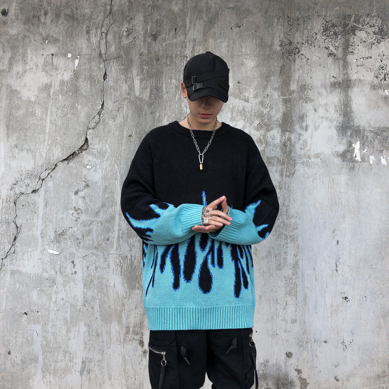 Woherb/осенне-зимний вязаный свитер в стиле Харадзюку с пламенем; повседневные женские и мужские пуловеры в стиле унисекс; уличная одежда в сти...