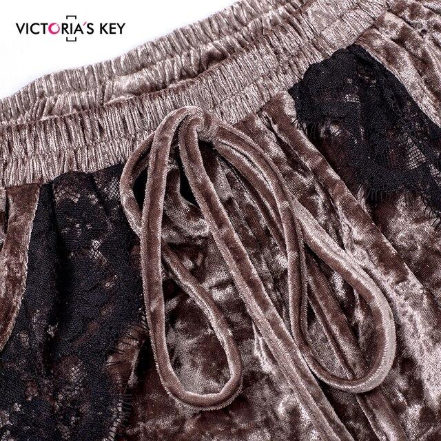 VICTORIA'S KEY Diamond Velvet Brown Pajamas Set Lace Cami Tops Shorts Women Nightwear Autumn Winter Home Suit Ladies Sleepwear 5