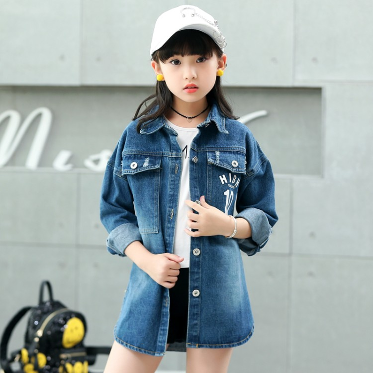 Denim   Trench   Coat Girls Kids Children 2019 Spring Autumn Fall Streetwear Single Breasted 4 to 15 Years