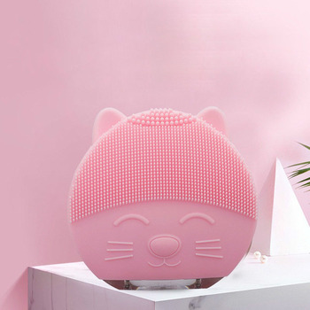 Cartoon Cleansing Instrument Pore Face Washing Brush Electric Touch Ultrasonic Cleansing Face Silicone Cleansing Brush недорого