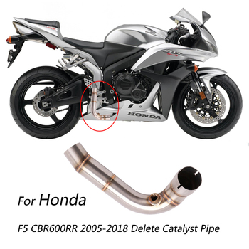 54/48 mm Mid Pipe for 2005-2018 Honda CBR600RR F5 Motorcycle Exhaust Pipe Delete Original Catalyst Replace Stainless Steel