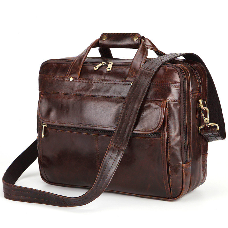 Business Briefcase Men's Leather Large Capacity Computer Bags Shoulder Bag