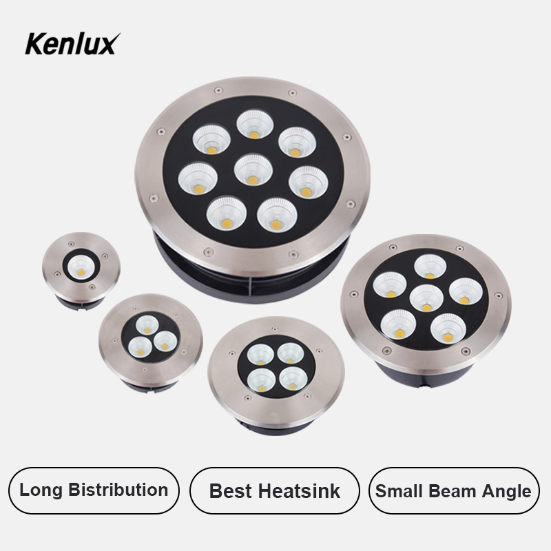 Kenlux Recessed Led Underground Light 10W 20W 30W 40W 55W Stainless Path Floor Lamp Outdoor Recessed In-ground Buried Yard Lamp