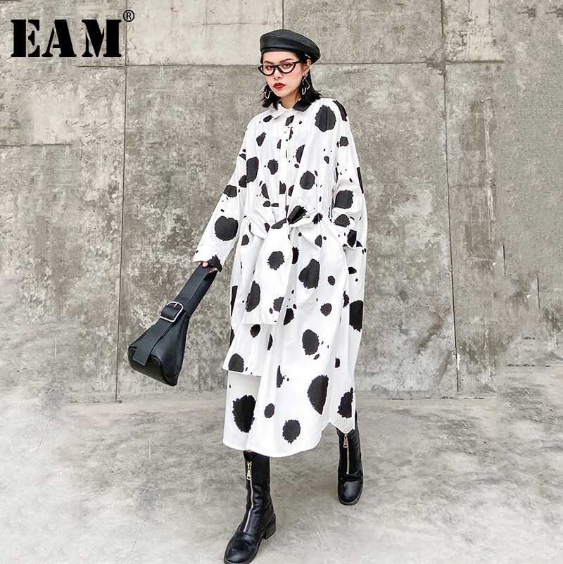 [EAM] Women Dot Printed Split Joint Big Size Shirt Dress New Lapel Neck Long Sleeve Loose Fit Fashion Spring Autumn 2020 1R504