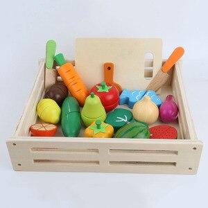 Детские кухонные игрушки, деревянные игрушки, игрушки для нарезки фруктов и овощей, миниатюрная еда, игрушки для девочек, кухонный набор, де...