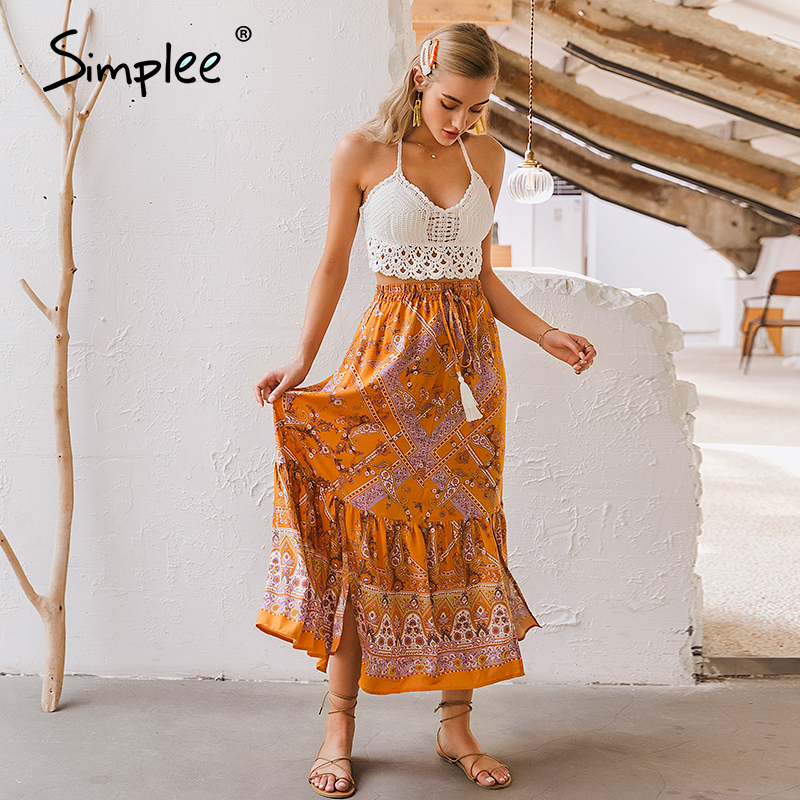 Simplee Bohemian Floral Print Women Skirt Tassel Elastic Waist Female A-line Long Skirt Spring Summer Ladies Holiday Skirts 2020