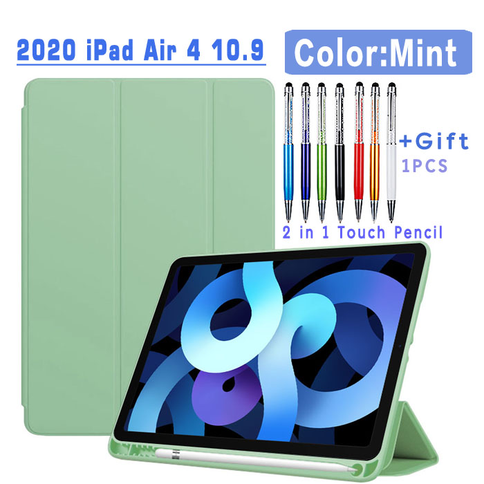 Flip Case-Mint White Magnetic Case For iPad Air 4 2020 10 9 inch flip case with Pencil Holder For