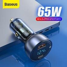 Baseus – chargeur de voiture 65W, affichage LED, QC 4.0, QC 3.0, type-c PD, charge rapide, USB, pour Iphone Xiaomi, pour téléphone portable