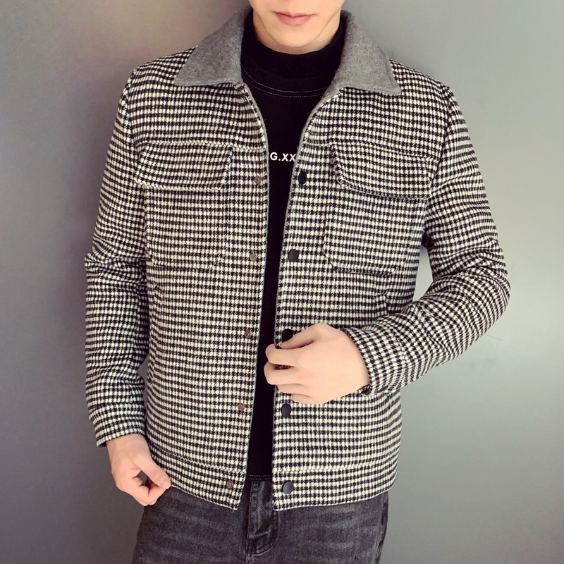 Autumn Winter Overcoat Woolen Coat Gray Coffee Plaid Smart Casual Mens Wool Coat England Middle Long Coats Jackets Slim Fit Male