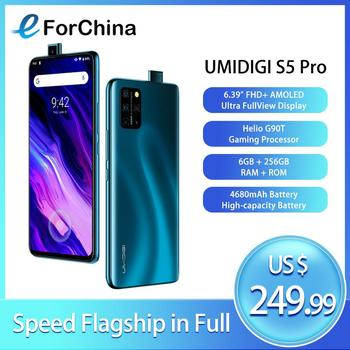 Перейти на Алиэкспресс и купить UMIDIGI S5 Pro Helio G90T игровой Процессор 6 ГБ 256 Гб Смартфон FHD + AMOLED Встроенный экран отпечаток пальца всплывающая селфи камера 48MP NFC