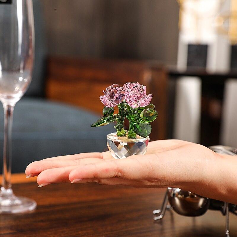 Элегантный кристалл розы автомобиль фигурка стекло фэн-шуй украшения пресс-папье в форме вечный цветок дома украшение стола подарок на ден...