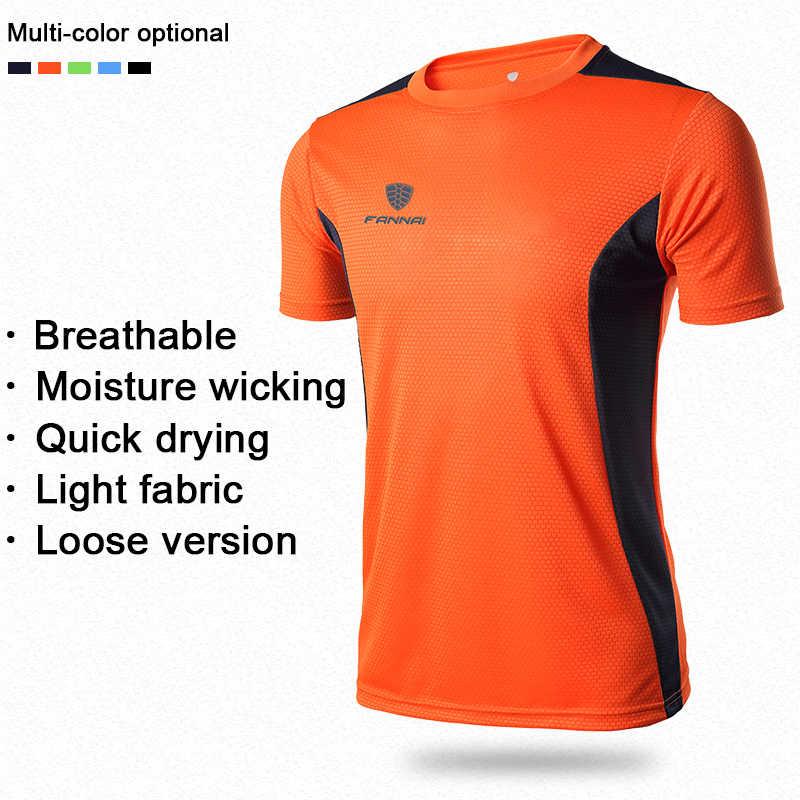 FANNAI erkek spor koşu T gömlek çabuk kuruyan kısa kollu basketbol futbol eğitim spor CrossFit spor erkek üst Tee