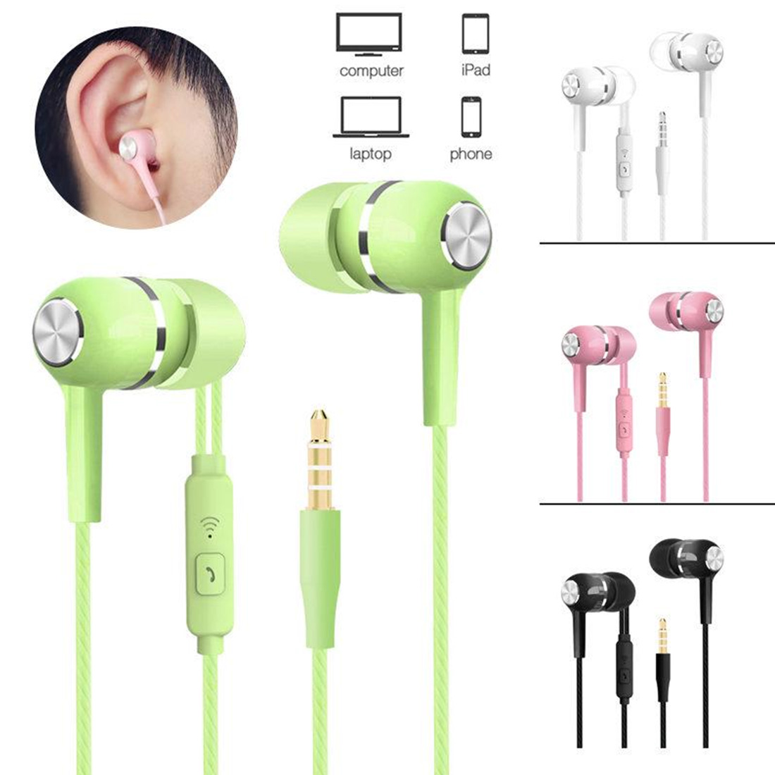 VPB S12 Sport Earphone In-ear Subwoofer Wired Headset With Wheat Line Control Universal Headset Mobile Phone Ear Plug