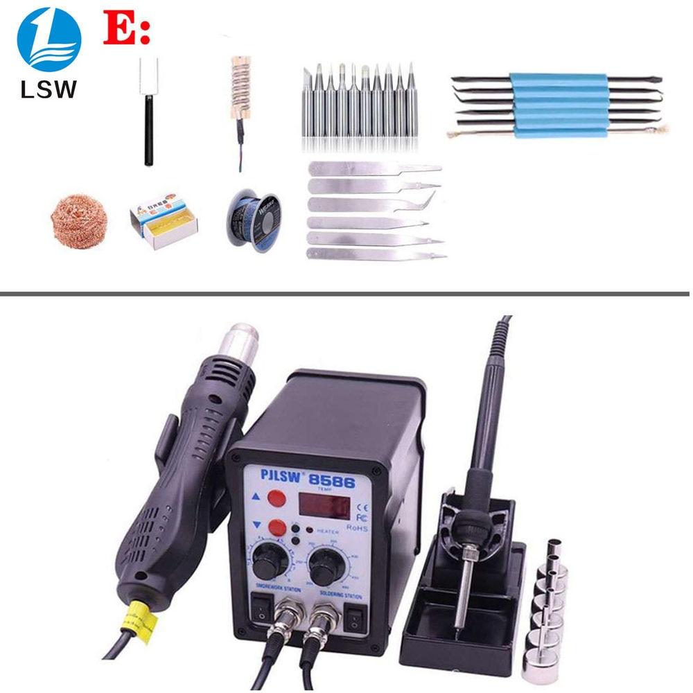 Pjlsw 8586 700 w esd estação de solda led digital ferro desoldering estação de retrabalho bga solda pistola de ar quente soldador