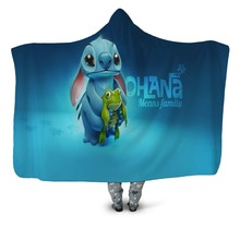 Microfiber hooded blanket with cartoon stitch for adult children Lilo & seamstress printing Sherpa puffy sleeping bag