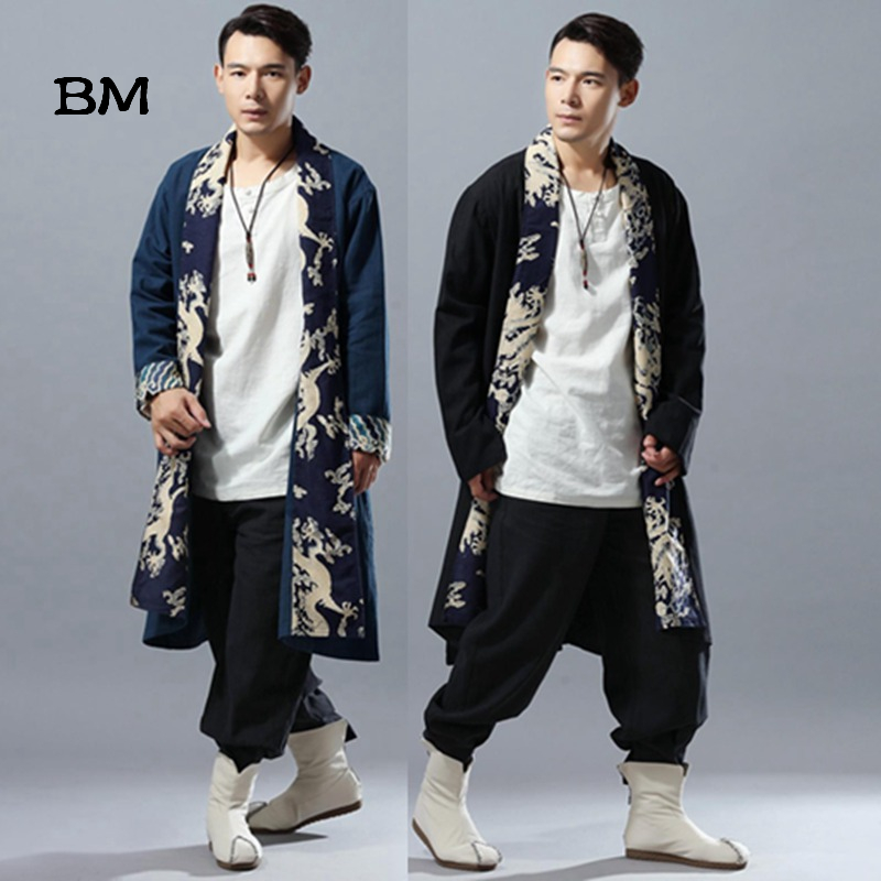 2019 Autumn Long Coat Men Capes Chinese Dragon Patchwork Linen Kimono Cardigan Loose Windbreaker Male Overcoat Trenchcoat