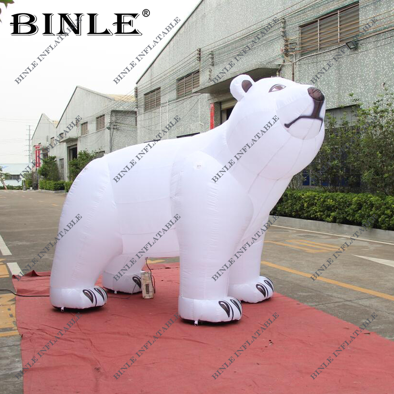Outdoor large white inflatable polar bear with blower inflatable sea bear animal model replica for Christmas decoration
