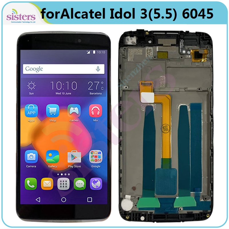 LCD Screen For <font><b>Alcatel</b></font> Idol 3 5.5 <font><b>6045Y</b></font> 6045K 6045O LCD <font><b>Display</b></font> Touch Screen Digitizer With Frame LCD Assembly Phone Replacement image