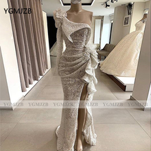 Sparkly Sequin White Mermaid Evening Dresses 2020 One Shoulder Long Sleeves High Slit Women Formal Prom Gown Party Dress novelty one shoulder high slit hollow out dress for women