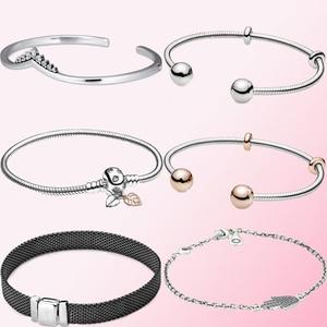 Image 1 - 2019 Fall 100% 925 Sterling Silver 1:1 Reflexions Oxidised Mesh Bracelet Womens Fine Jewelry DIY Beaded Pendant Charm Wholesale