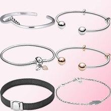 2019 autunno 100% argento Sterling 925 1:1 riflessi bracciale a maglie ossidate gioielleria raffinata da donna ciondolo con perline fai da te allingrosso