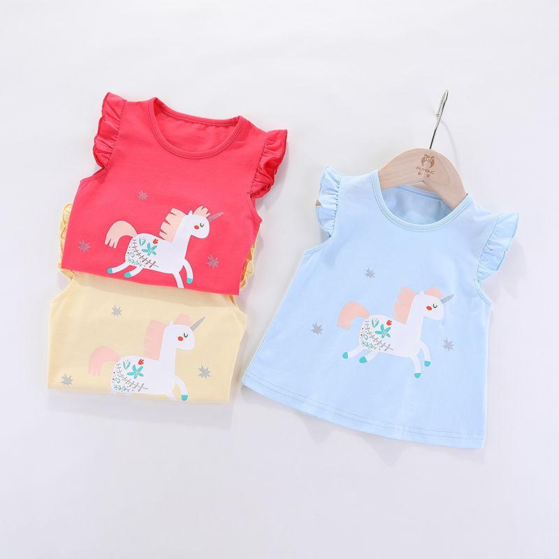VIDMID Children baby girls kids Short Sleeve T-Shirts Baby girls unicorn rabbits summer girls casual cute cotton tops tees p2007 3