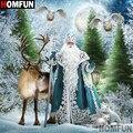 Алмазная живопись HOMFUN, вышивка крестиком 5D, «Санта-Клаус, олень, лиса», домашний декор, для творчества, A00053