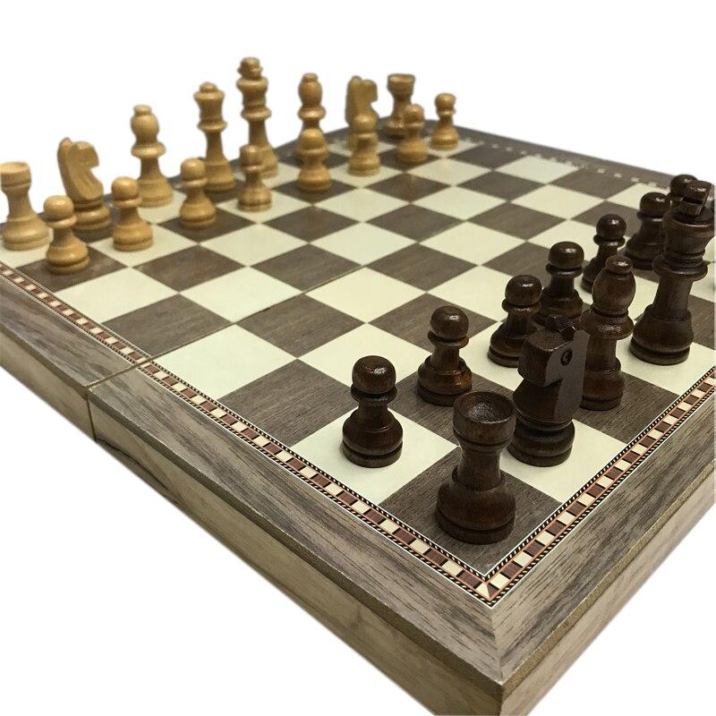 Foldable 3 In 1 Wooden Chess Board Set Western Backgammon Se…