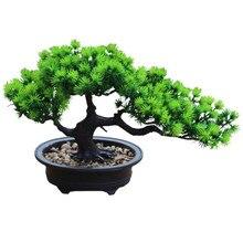 Verde Artificial plantas bonsái de pino simulación falso planta realista para escritorio de oficina ornamento jardín decoración del hogar