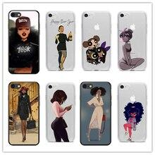 Fashion cartoon sexy black girl New Arrival soft TPU phone Cover case For iphone 4 5 6 7 8 PLUS X XR XMAX Fundas Coque Capa