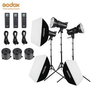 Image 1 - Godox 3x SL 60W beyaz versiyonu stüdyo LED sürekli fotoğraf Video işığı + 3x1.8m ışık standı + 3x60x90cm Softbox led ışık kiti
