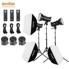Godox 3x SL 60W branco versão estúdio led luz de vídeo foto contínua + 3x1.8m suporte de luz + 3x60x90cm softbox led kit de luz